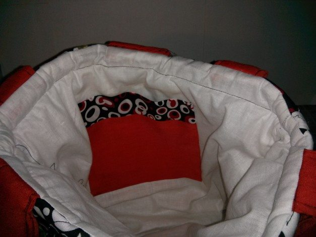 Interior of the Harley Quinn bag, photo by Odd Duck Studios