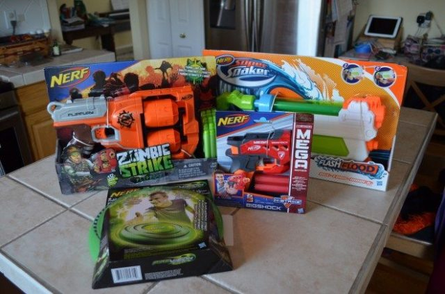 Our sampling of Nerf summer products! Summer arrived quite literally on June 1st here in Colorado Springs. Photo: Patricia Vollmer.