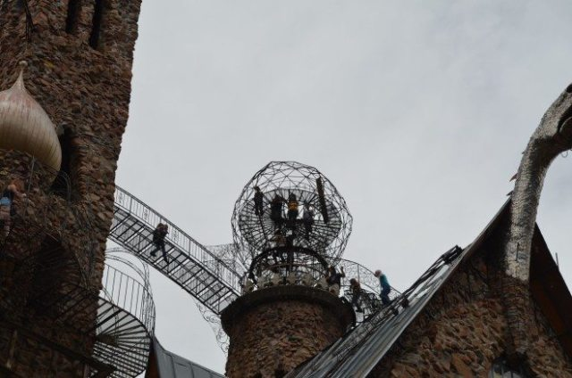 I called this the hamster ball. Visitors can climb up one of the turrets to enter the ball. I didn't make the trip up, nor did anyone in my family. Photo: Patricia Vollmer.
