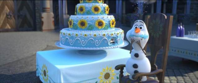 Olaf snags some cake. Photo: © Disney. All rights reserved.