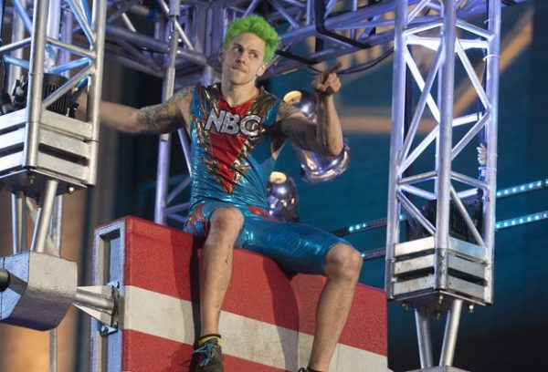 Not your standard jock show - ninja Jamie Rahn and his green hair show how it's done. Photo courtesy ANW-NBC
