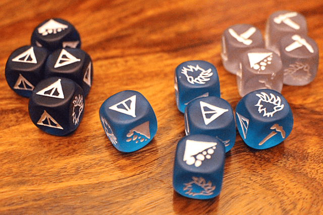 The three colors of dice in Dicey Peaks, Image: Sophie Brown