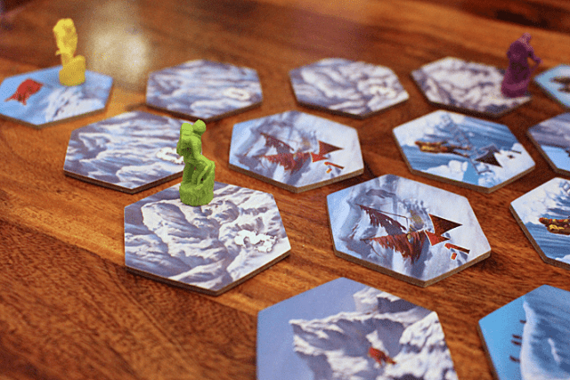 Yellow has won this game of Dicey Peaks by landing on the correct summit tile, Image: Sophie Brown