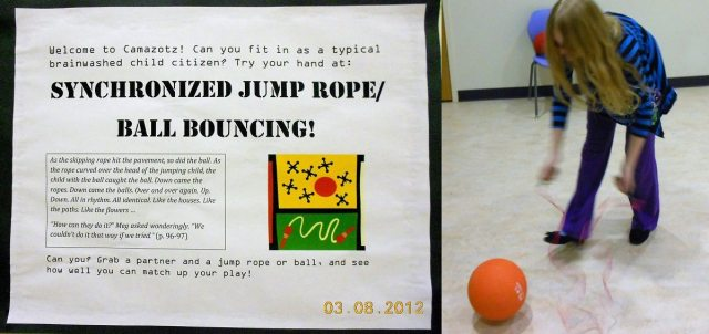 Description of the Synchronized Jump Rope/Ball Bouncing Challenge; young teen girl leaning over with jump rope and kickball