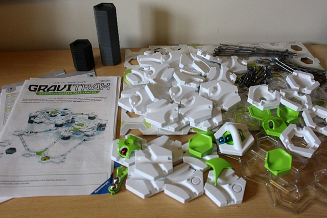 Gravitrax Starter Set Contents (NB, around half the height tiles are missing from this image), Image: Sophie Brown