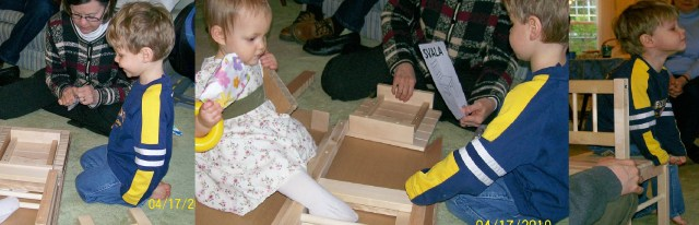 Series of three pictures of a 3yo assembling a wooden chair with the help of his grandmother, watched by a twelve-month-old wearing a yellow stacking ring on her wrist.