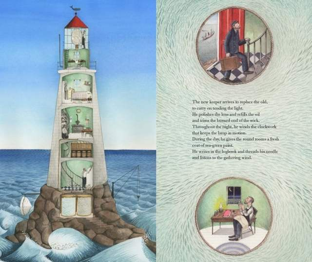 Cutaway view of lighthouse on left, inset pictures of the lighthouse keeper with text on the right
