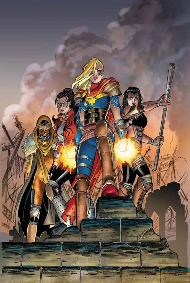 Captain Marvel stands at the center front of a group of female superheroes
