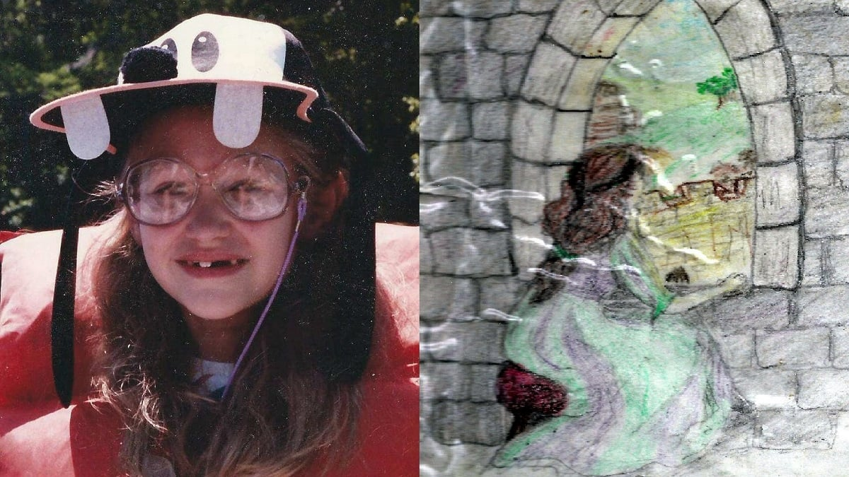 On left: bespectacled 9yo girl in a Goofy hat and life vest; on right: sketch of a fairy-tale princess gazing out a castle window