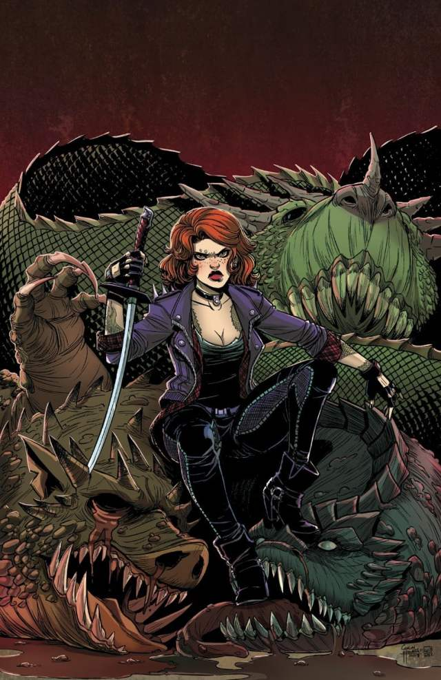 A redheaded girl in a black leather jacket resting against the remains of a scaly green monster
