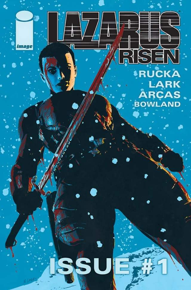 comic book corner cover of Lazarus Risen #1, woman in dark clothing on a blue background