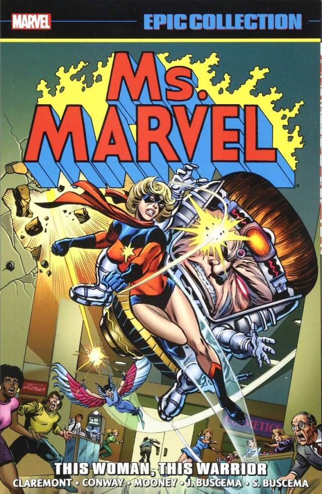 Carol Danvers in her original costume punching a bad guy. Text reads Marvel EPIC COLLECTION and below, MS MARVEL