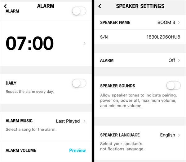 Alarm and Speaker Settings, Images: Sophie Brown
