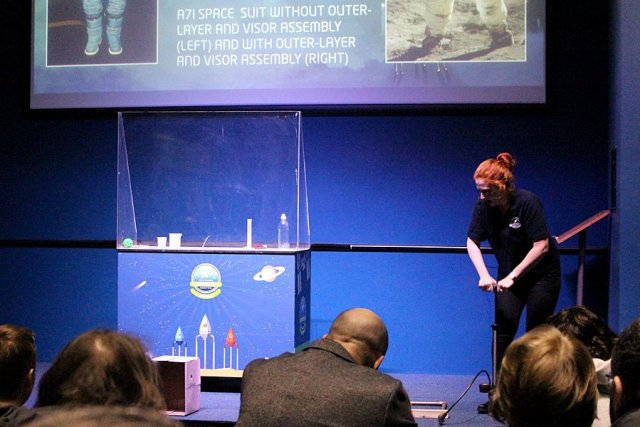 A Crew Member Demonstrates a Rocket in Live Space, Image: Sophie Brown