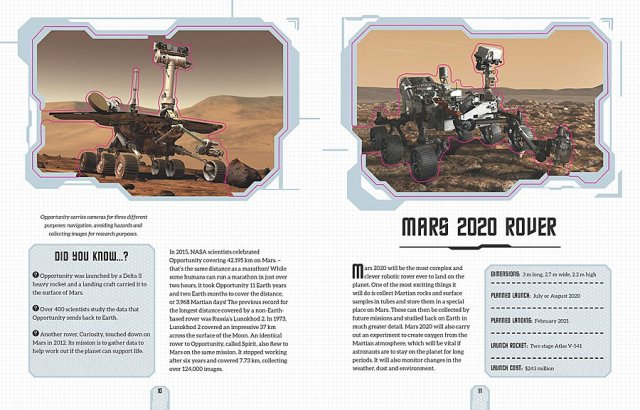 Sample Pages from The Spectacular Journey Into Space (the Pink Lines Do Not Appear in the Finished Book), Images: Carlton Books