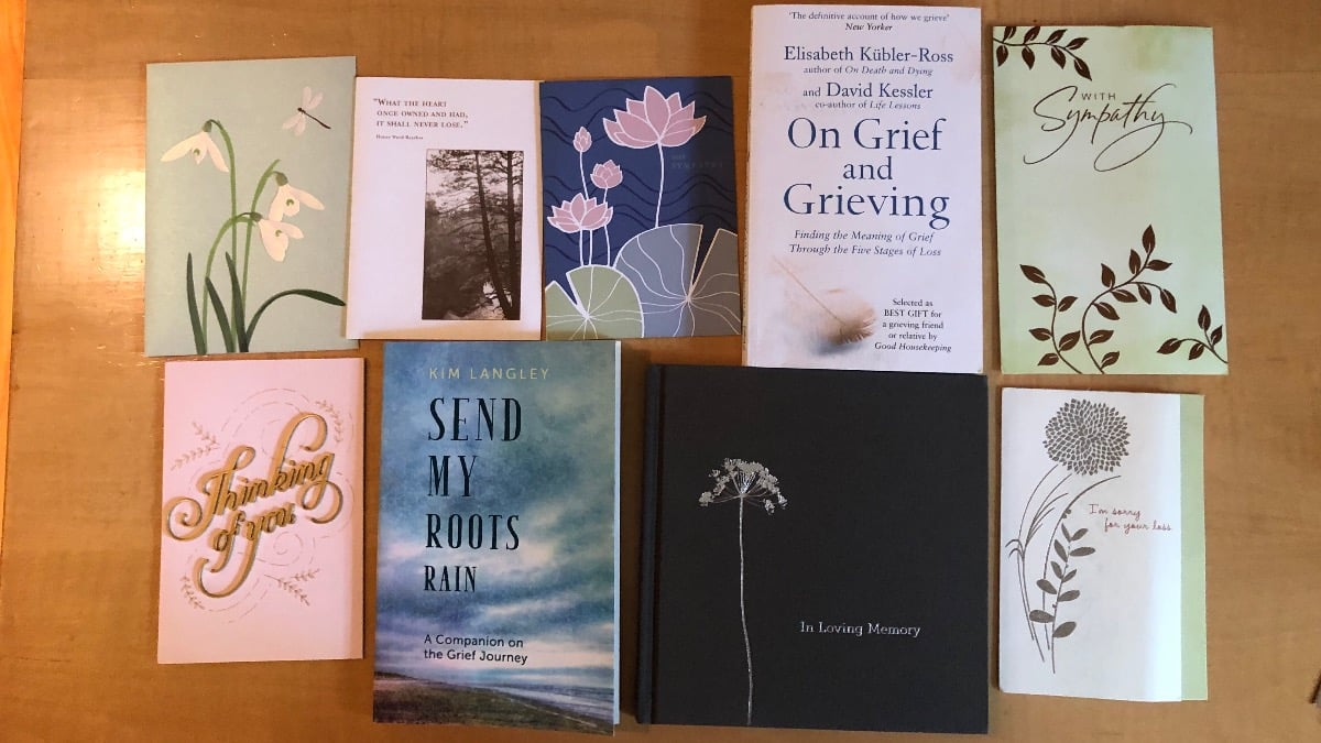 Image of sympathy cards and books