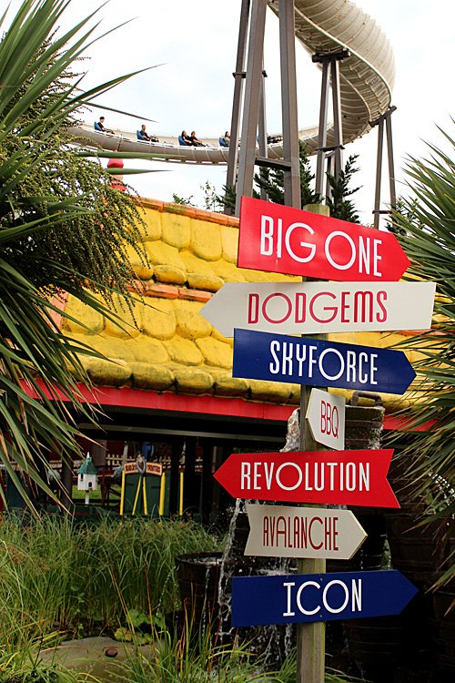 A Signpost at Blackpool Pleasure Beach with Avalanche Behind, Image: Sophie Brown