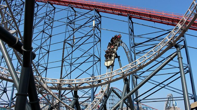 ICON Crests the First Hill at Blackpool Pleasure Beach, Image: Sophie Brown