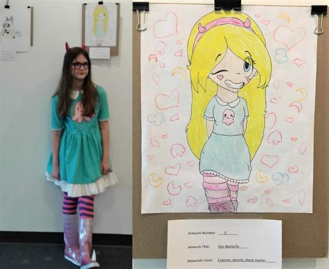 Girl dressed as the character Star Butterfly beside her drawing of the same, with a closeup of the drawing
