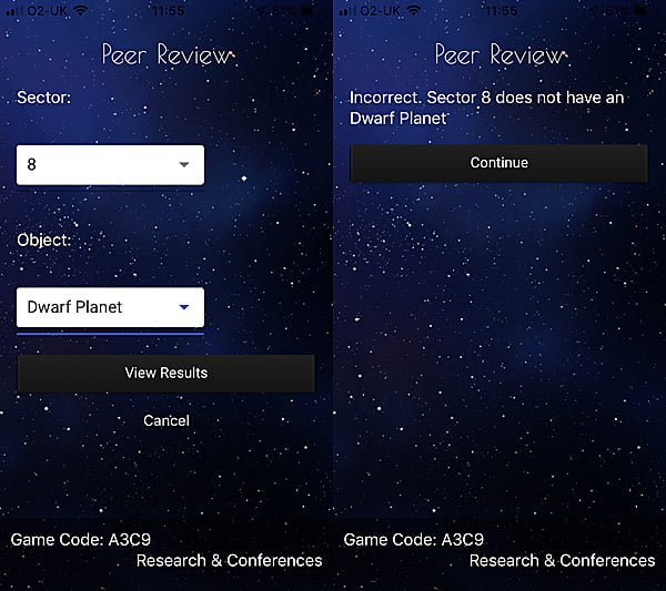 A Peer Review During a Theory Phase, Screenshots: Sophie Brown via App by Foxtrot Games