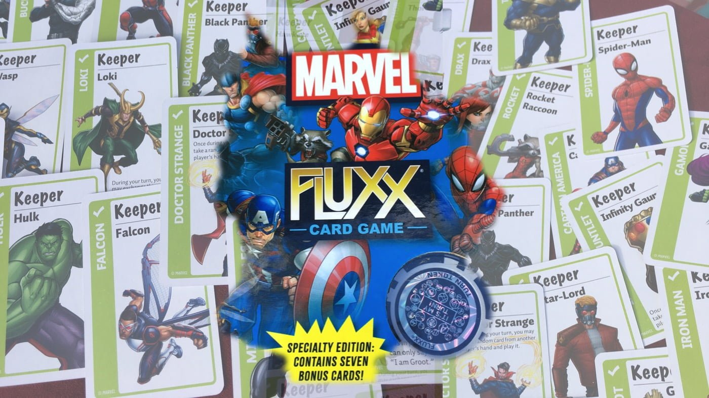 Cover art for Marvel Fluxx and cards