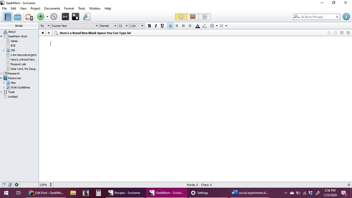 "screenshot of a blank Scrivener file labeled ""Here is a new blank page for you to write in!"""
