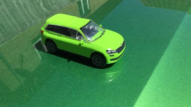 The COBI Skoda Model Sat on Top of Our Skoda, Image Sophie Brown