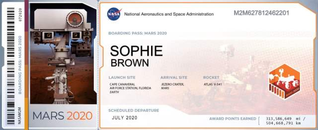 My Mars 2020 Boarding Pass, Image NASA