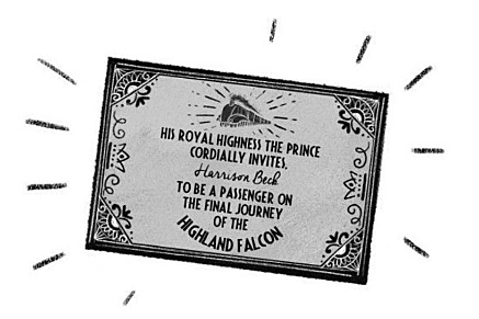 Harrison's Ticket in the Highland Falcon Thief, Image Pan Macmillan