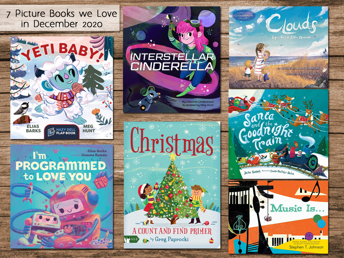 Picture Books December 2020, Cover Images as Noted in Post, Background Image by Michael Schwarzenberger from Pixabay