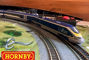 The Eurostar by Hornby, Image Sophie Brown, Logos Eurostar and Hornby