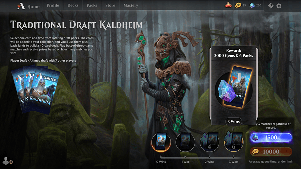 MtgA Traditional Kaldheim Draft Wins