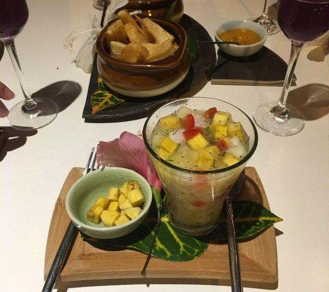 picture of ceviche served at MUYU Galapagos. Photo taken by EG Dad