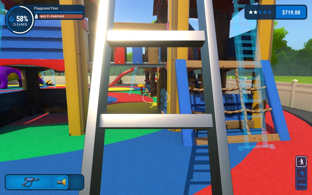 Placing the Ladder in Powerwash Simulator, Screenshot by Sophie Brown