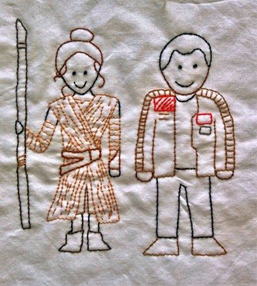 Star Wars The Force Awakens Rey and Finn hand embroidery free printable