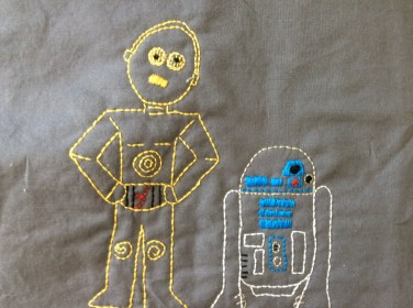 Star Wars C3PO and R2D2 hand embroidery detail free printable