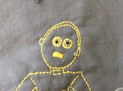 Star Wars C3PO hand embroidery face detail free printable