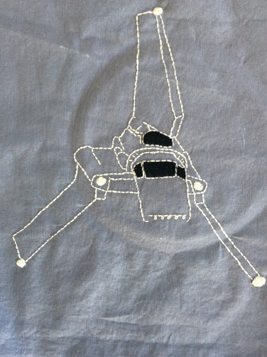 Star Wars Imperial Shuttle hand embroidery. Get the free printable pattern!