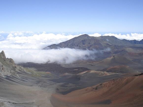 Clouds breach the Kaleakala summit valley