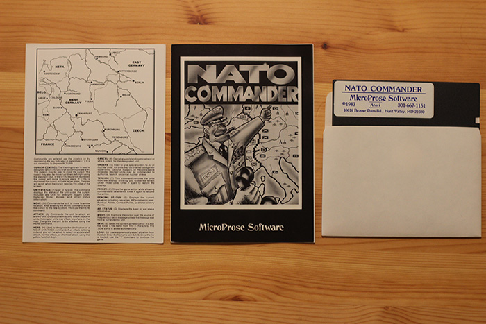 "Map, Instructions and Floppy Diskette from ""NATO Commander""."