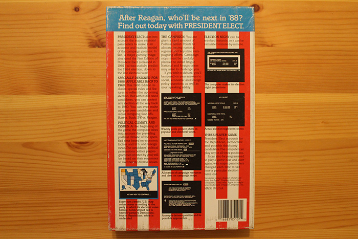 President Elect - 1988 Edition box, rear.