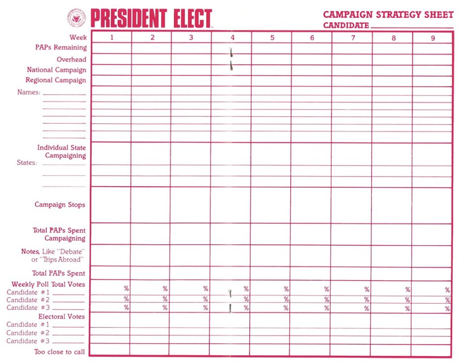 President Elect Campaign Strategy Sheet