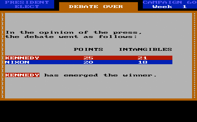 President Elect '88, debate winner screen.