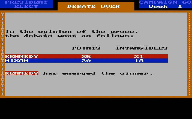 President Elect '88, debate winner screen.