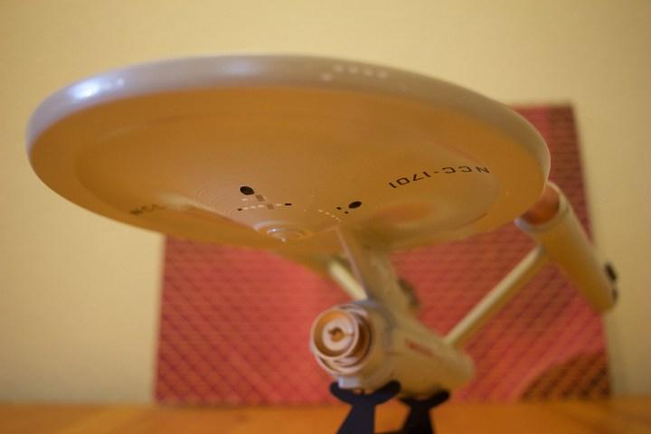 AMT's USS Enterprise model kit, lower front-left view.
