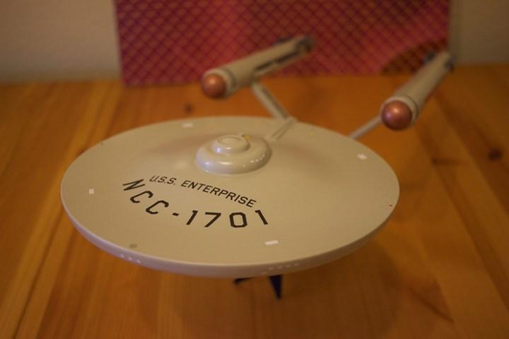 AMT's USS Enterprise model kit, top front-left view.