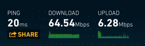 Cox Preferred Tier via wireless-AC connection - speedtest.net