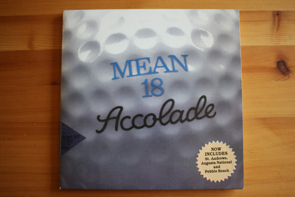 The mini-LP box for Mean 18 Ultimate Golf by Microsmiths, published by Accolade, 1986.