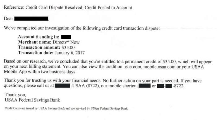 Letter informing me that my dispute had been resolved in my favor and that I would be receiving a 35 dollar credit.