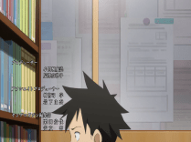 The main protagonist studying as always